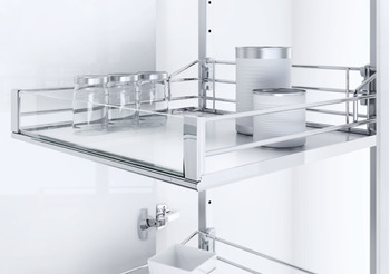 Swing Out Larder Unit , For Cabinet Width 500-600 mm, with Artline Glass Sided Chrome Wire Storage Baskets, Vauth-Sagel VS TAL Gate N