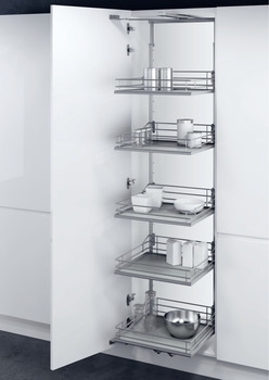 Swing Out Larder Unit , For Cabinet Width 500-600 mm, with Premea Solid Grey Base with Silver Wire Storage Baskets, Vauth-Sagel VS TAL Gate N