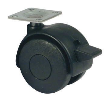 Swivel Twin Wheel Castor, without Brake, Ø 40-50 mm, Hooded, 38 mm Plate Fixing