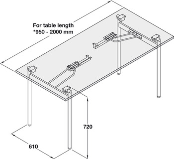 Table Fitting, Folding, H or T Frame, Tubular Steel