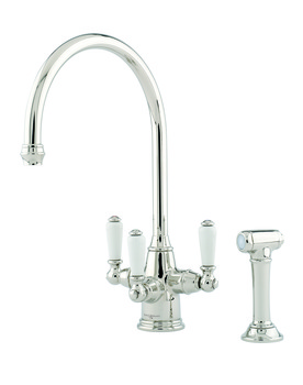 Tap, Contemporary Triple Lever Monobloc, with Seperate Pull-out Spray, Perrin and Rowe Phoenician