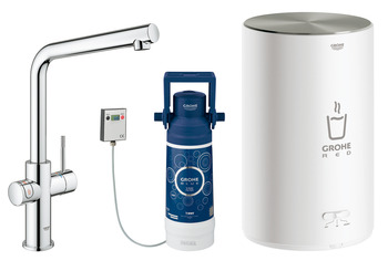 Tap, Instant Hot Water and Mixer, 3 Litres, L-Spout, Grohe Red II Duo
