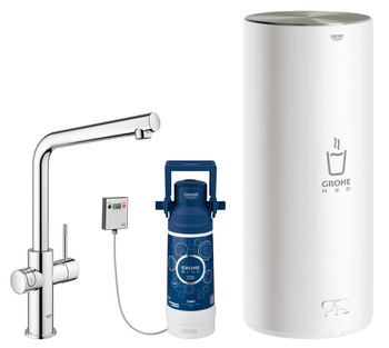 Tap, Instant Hot Water and Mixer, 5.5 Litres, L-Spout, Grohe Red II Duo