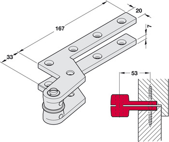 Top Centre, Single Action, for Floor Springs, Geze