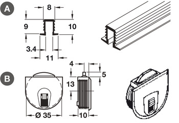 Upper/Lower Guide Channel, for Sliding Cabinet Doors, Light Duty Fittings