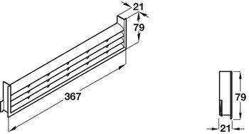 Ventilation Grille, for Recess Mounting, Length 367 mm, Height 79 mm