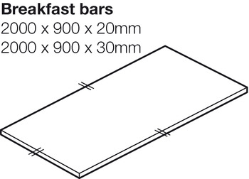 Worktop for Breakfast Bar, Solid Surface, Crushed Cotton, Apollo® Slab Tech