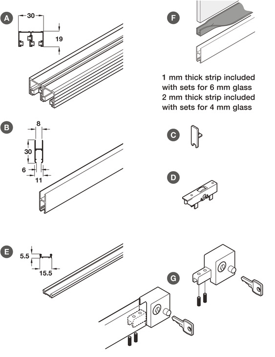 Complete Set Including Lock For Sliding Glass Cabinet Doors