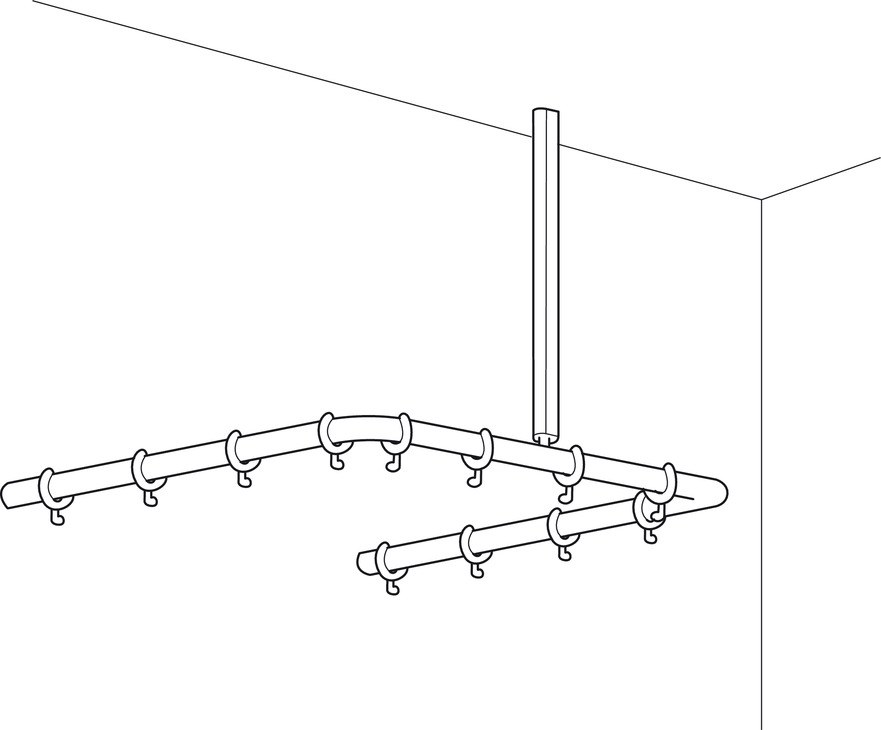 Shower Curtain Rail Corner U Shaped With Ceiling Support Programma Cap Range PBA